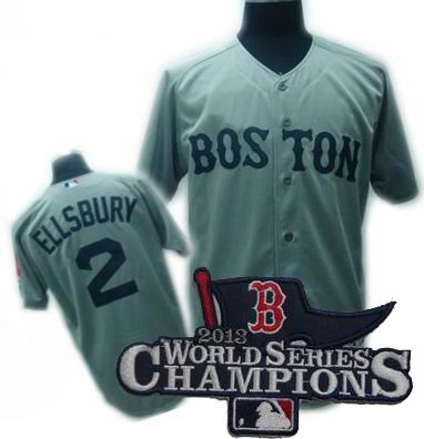 Boston Red Sox Authentic #2 Jacoby Ellsbury Jersey gray 2013 World Series Champions ptach