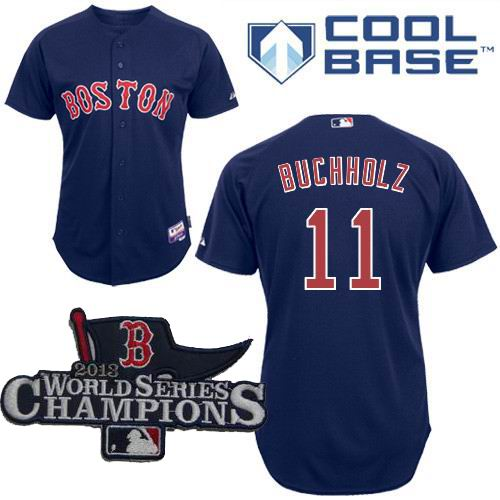 Boston Red Sox Authentic 11# Clay Buchholz  blue Cool Base Baseball Jersey 2013 World Series Champions ptach