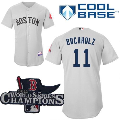 Boston Red Sox Authentic 11 Clay Buchholz grey Cool Base Baseball Jersey 2013 World Series Champions ptach
