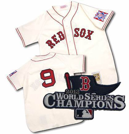Boston Red Sox Authentic 1939 #9 Ted Williams Home CREAM Jersey MitchellandNess 2013 World Series Champions ptach