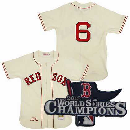 Boston Red Sox Authentic 1946 #6 Johnny Pesky Home CREAM Jersey MitchellandNess 2013 World Series Champions ptach