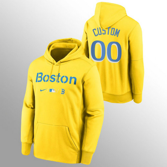 Boston Red Sox Personalized Men's 2021 City Connect Gold Pullover Baseball Hoodie