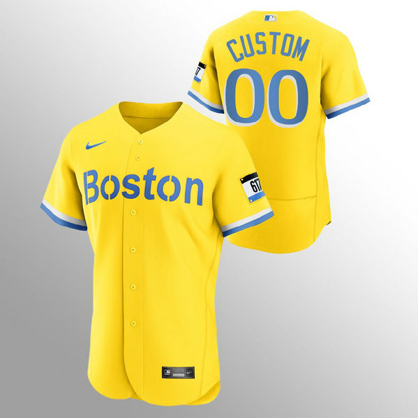 Boston Red Sox Personalized Men's Nike 2021 City Connect Gold Authentic MLB Jersey