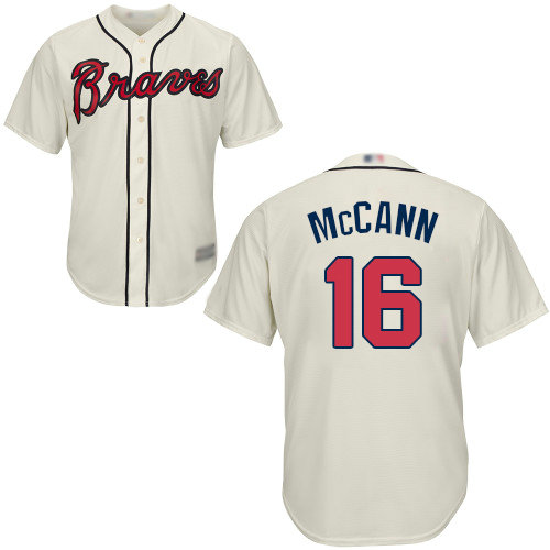 Braves #16 Brian McCann Cream Cool Base Stitched Youth Baseball Jersey