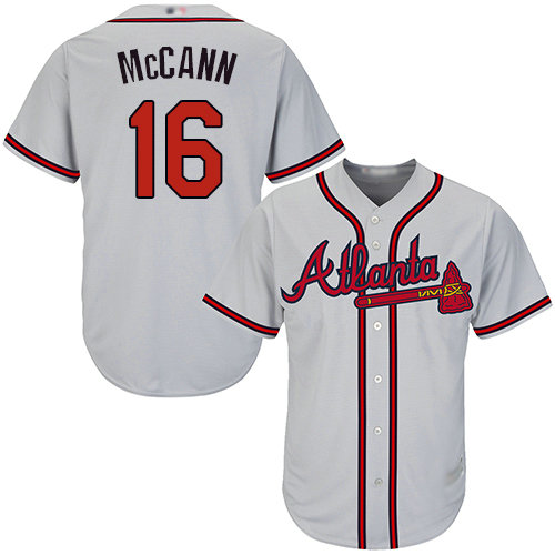 Braves #16 Brian McCann Grey Cool Base Stitched Youth Baseball Jersey