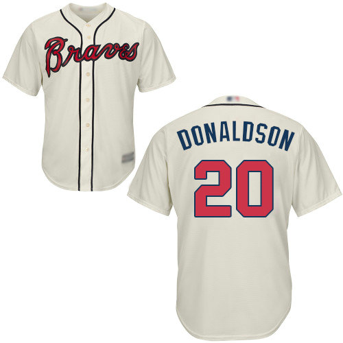 Braves #20 Josh Donaldson Cream Cool Base Stitched Youth Baseball Jersey