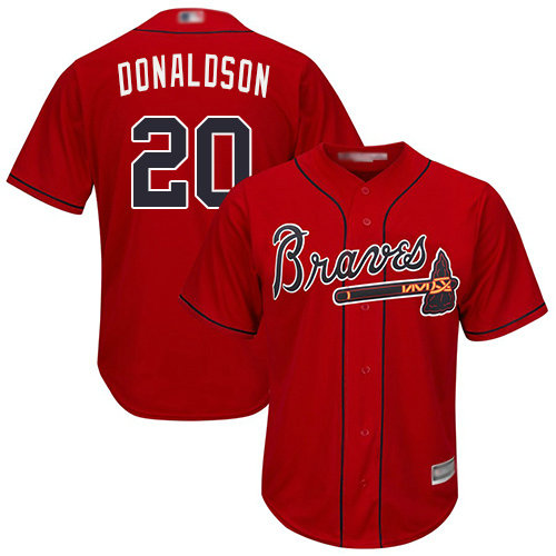 Braves #20 Josh Donaldson Red Cool Base Stitched Youth Baseball Jersey