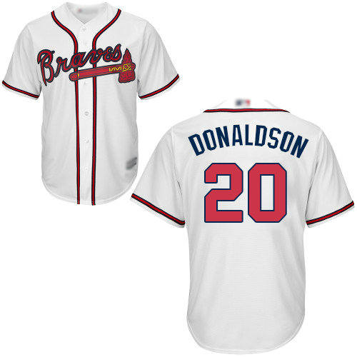 Braves #20 Josh Donaldson White Cool Base Stitched Youth Baseball Jersey
