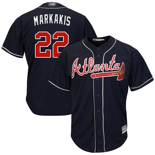 Braves #22 Nick Markakis Navy Blue Cool Base Stitched Youth Baseball Jersey