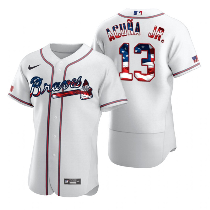 Braves 13 Ronald Acuna Jr. White USA Flag Fashion Nike Cool Base Jersey