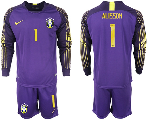 Brazil #1 Alisson Purple Goalkeeper Long Sleeves Soccer Country Jersey