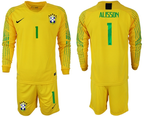 Brazil #1 Alisson Yellow Goalkeeper Long Sleeves Soccer Country Jersey