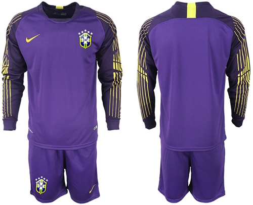 Brazil Blank Purple Goalkeeper Long Sleeves Soccer Country Jersey