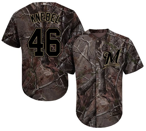 Brewers #46 Corey Knebel Camo Realtree Collection Cool Base Stitched Youth Baseball Jersey