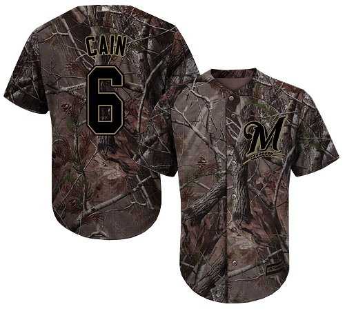 Brewers #6 Lorenzo Cain Camo Realtree Collection Cool Base Stitched Youth Baseball Jersey