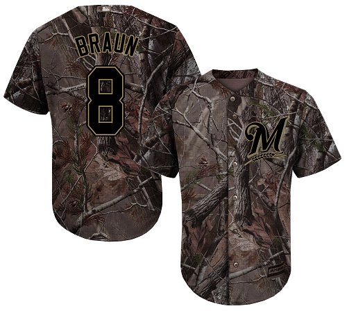 Brewers #8 Ryan Braun Camo Realtree Collection Cool Base Stitched Youth Baseball Jersey