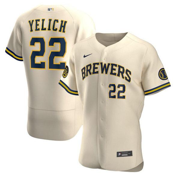 Brewers 22 Christian Yelich Cream Nike 2020 Flexbase Jersey