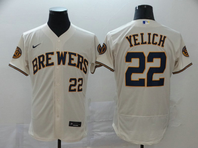Brewers 22 Christian Yelich Cream Nike 2020 Flexbase Jersey