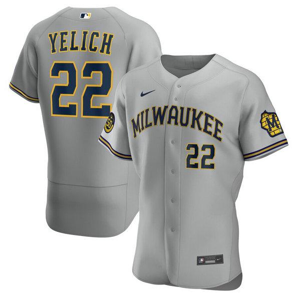 Brewers 22 Christian Yelich Gray Nike 2020 Flexbase Jersey