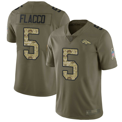 Broncos #5 Joe Flacco Olive Camo Youth Stitched Football Limited 2017 Salute to Service Jersey