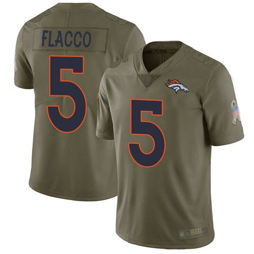 Broncos #5 Joe Flacco Olive Youth Stitched Football Limited 2017 Salute to Service Jersey
