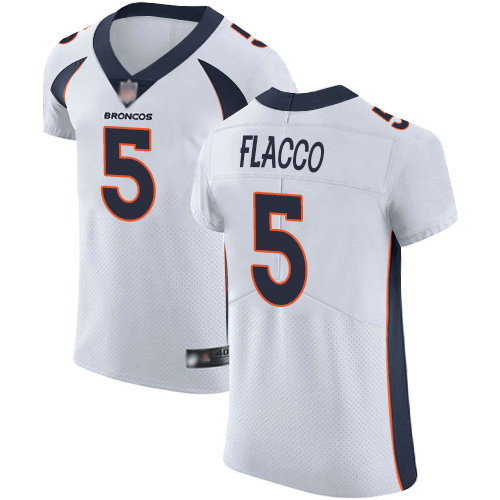Broncos #5 Joe Flacco White Men's Stitched Football Vapor Untouchable Elite Jersey