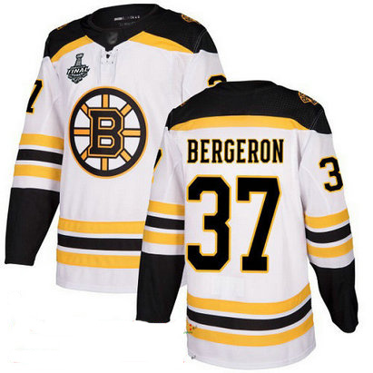 Bruins #37 Patrice Bergeron White Road Authentic Stanley Cup Final Bound Stitched Hockey Jersey