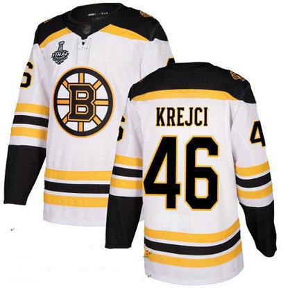 Bruins #46 David Krejci White Road Authentic Stanley Cup Final Bound Stitched Hockey Jersey