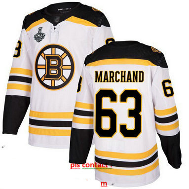Bruins #63 Brad Marchand White Road Authentic Stanley Cup Final Bound Stitched Hockey Jersey