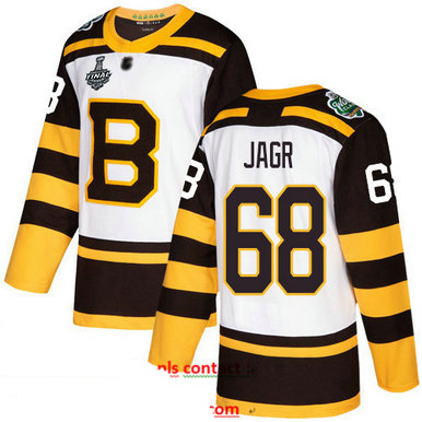 Bruins #68 Jaromir Jagr White Authentic 2019 Winter Classic Stanley Cup Final Bound Stitched Hockey Jersey