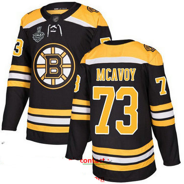 Bruins #73 Charlie McAvoy Black Home Authentic Stanley Cup Final Bound Stitched Hockey Jersey