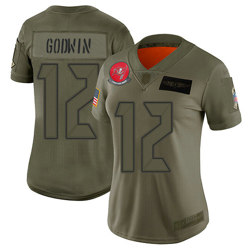 Buccaneers #12 Chris Godwin Camo Women's Stitched Football Limited 2019 Salute to Service Jersey