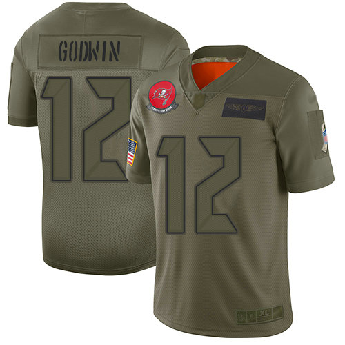 Buccaneers #12 Chris Godwin Camo Youth Stitched Football Limited 2019 Salute to Service Jersey