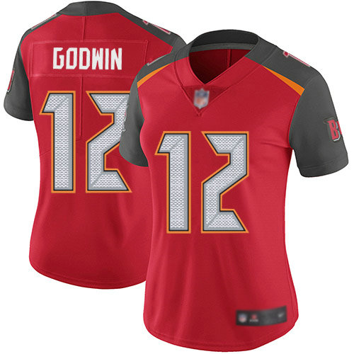 Buccaneers #12 Chris Godwin Red Team Color Women's Stitched Football Vapor Untouchable Limited Jersey