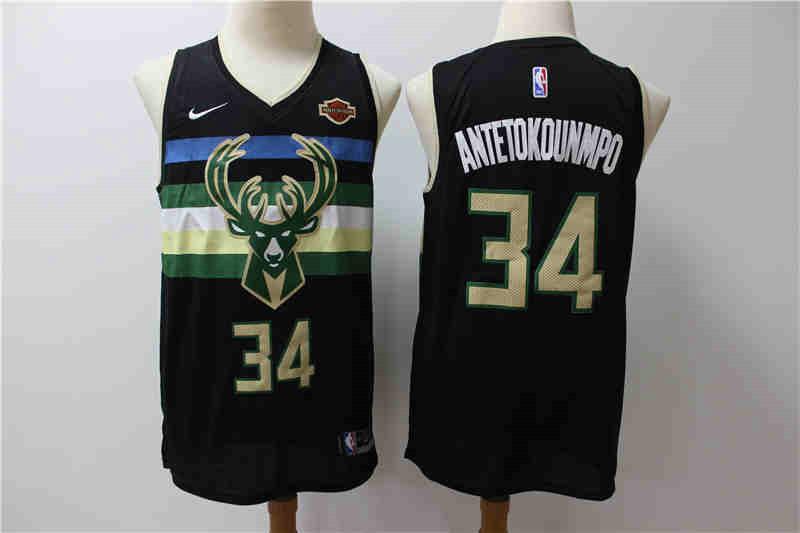 Bucks 34 Giannis Antetokounmpo Black City Edition Nike Swingman Jersey