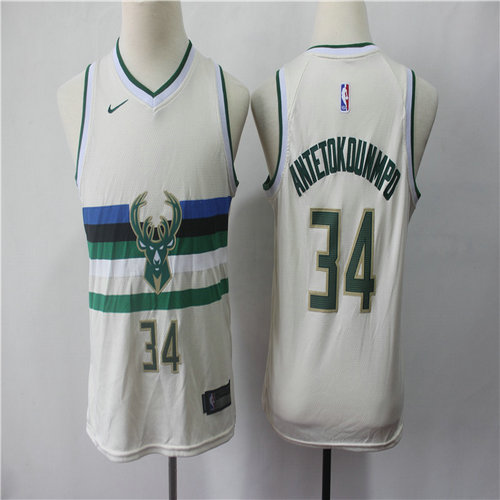 Bucks 34 Giannis Antetokounmpo Cream Youth 2018-19 City Edition Nike Swingman Jersey