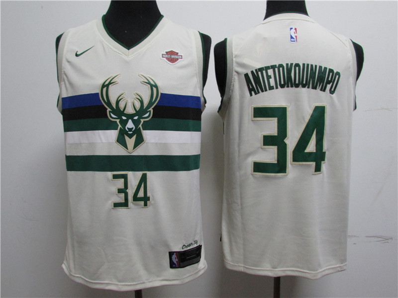 Bucks 34 Giannis Antetokounmpo White City Edition Swingman Jersey