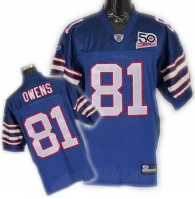 Buffalo Bills AFL 50th Anniversary Terrell Owens L.T #81 light blue Jersey