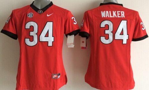Bulldogs #34 Herschel Walker Red Women's Stitched NCAA Jersey