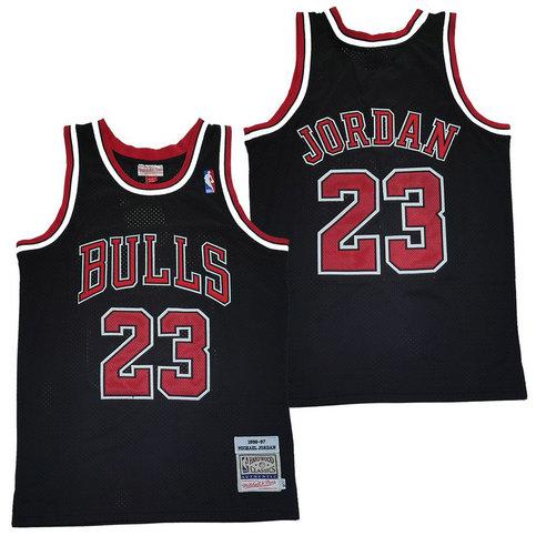 Bulls 23 Michael Jordan Black 1996-97 Hardwood Classics Mesh Jersey