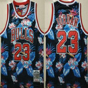 Bulls 23 Michael Jordan Black 1997-98 Hardwood Classics Floral Fashion Swingman Jersey