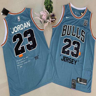 Bulls 23 Michael Jordan Blue Commemorative Edition Basketball Jersey