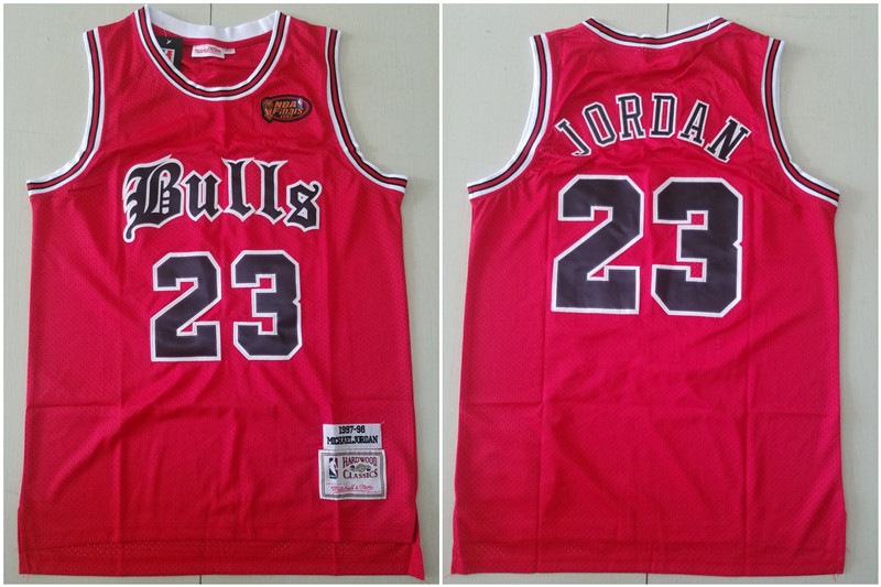 Bulls 23 Michael Jordan Red 1997 NBA Finals Patch 1997-98 Hardwood Classics Jersey
