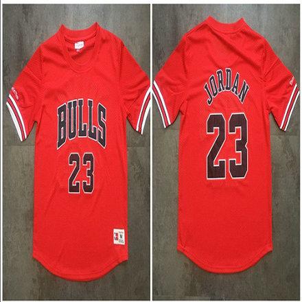 Bulls 23 Michael Jordan Red Mitchell & Ness Mesh Jersey