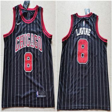 Bulls 8 Zach Lavine Black Nike Swingman Jersey