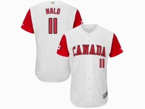 Canada Baseball Majestic #11 Jonathan Malo White 2017 World Baseball Classic Team Jersey