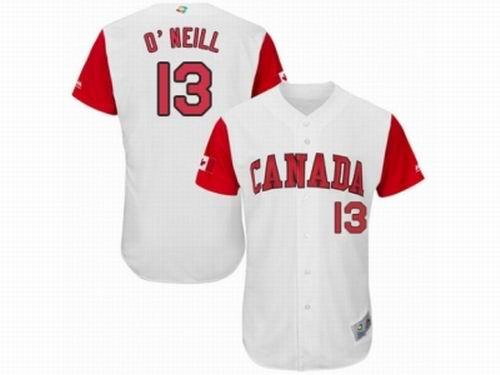 Canada Baseball Majestic #13 Tyler O'Neill White 2017 World Baseball Classic Team Jersey