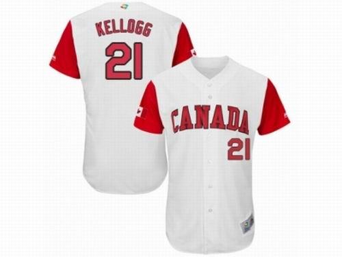 Canada Baseball Majestic #21 Ryan Kellogg White 2017 World Baseball Classic Team Jersey