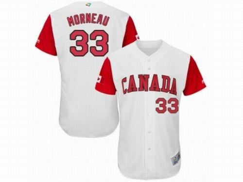 Canada Baseball Majestic #33 Justin Morneau White 2017 World Baseball Classic Team Jersey