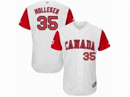 Canada Baseball Majestic #35 Dustin Molleken White 2017 World Baseball Classic Team Jersey